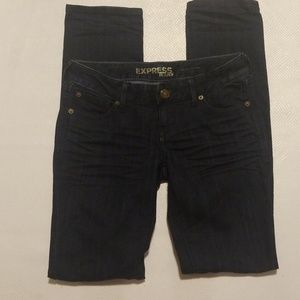Express dark washed skinny jeans